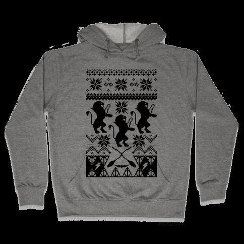 Hogwarts Ugly Christmas Sweater: Gryffindor Hooded Sweatshirt