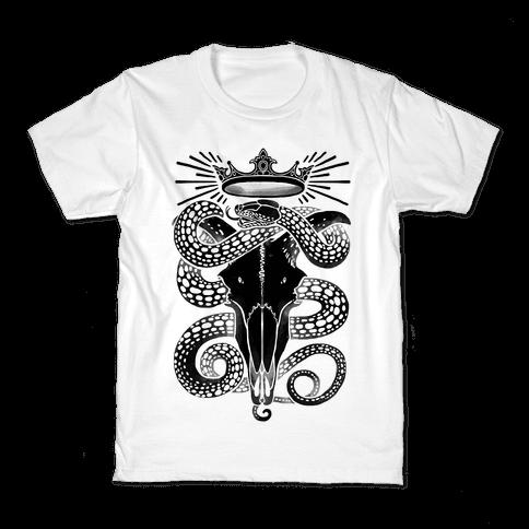 Crowned Serpent Goat Skull Kids T-Shirt