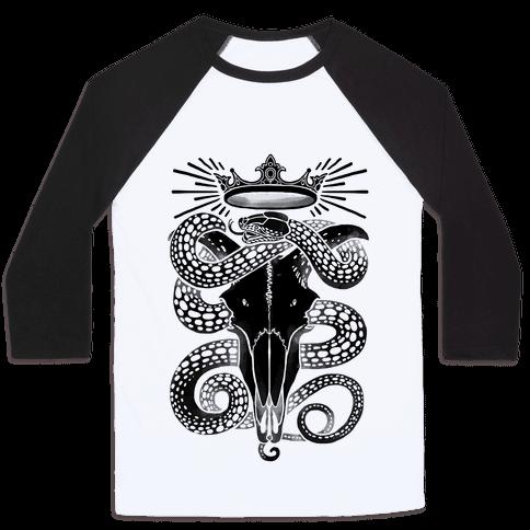 Crowned Serpent Goat Skull Baseball Tee