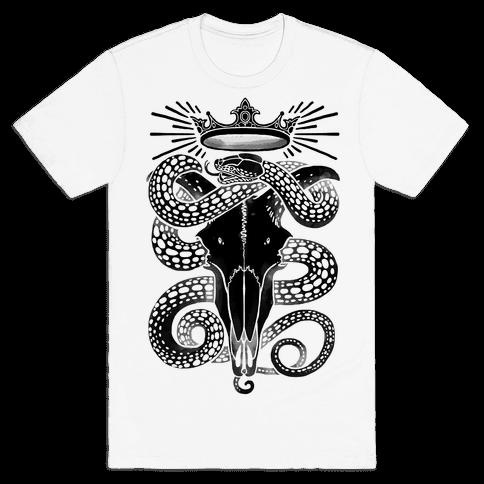 Crowned Serpent Goat Skull Mens T-Shirt
