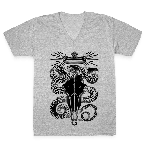 Crowned Serpent Goat Skull V-Neck Tee Shirt