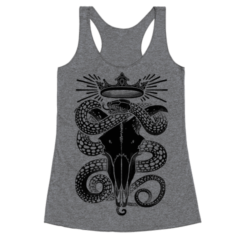 Crowned Serpent Goat Skull Racerback Tank Top