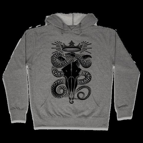 Crowned Serpent Goat Skull Hooded Sweatshirt