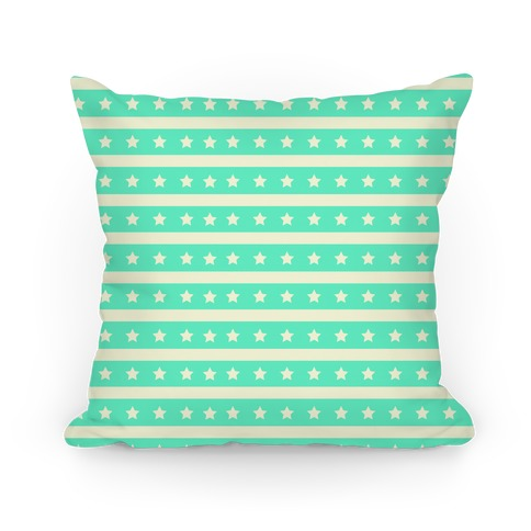 Mint Stars and Stripes Pattern Pillow