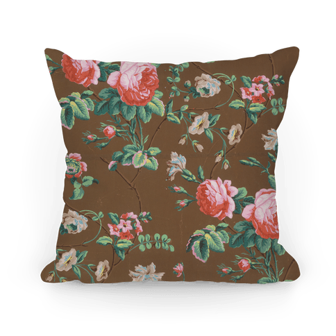 Vintage Floral Wallpaper Pillow Pillow