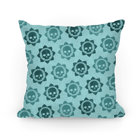 Skull and Lotus Floral Pattern Pillow