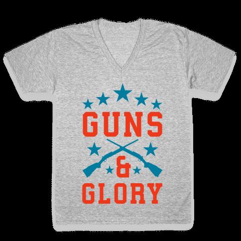 Guns and Glory V-Neck Tee Shirt