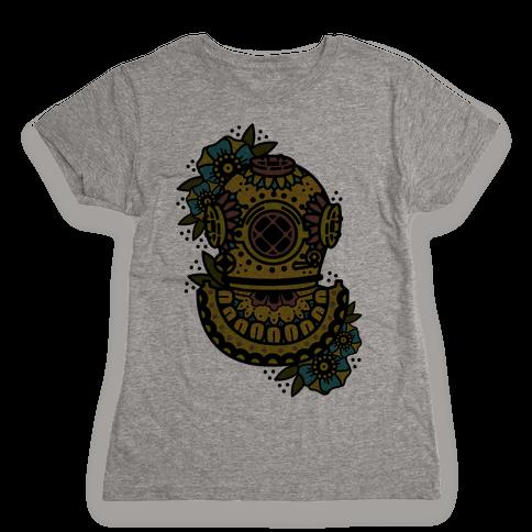 Floral Diving Helmet Womens T-Shirt