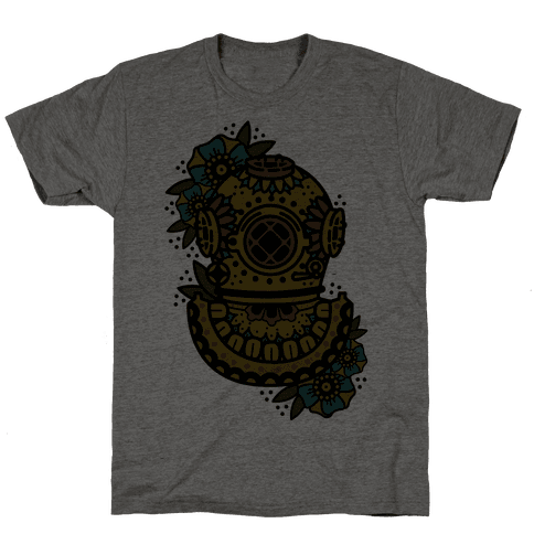 Floral Diving Helmet Mens T-Shirt
