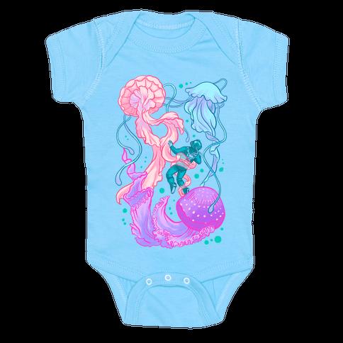 Deep Sea Diver & Jellyfish Baby Onesy