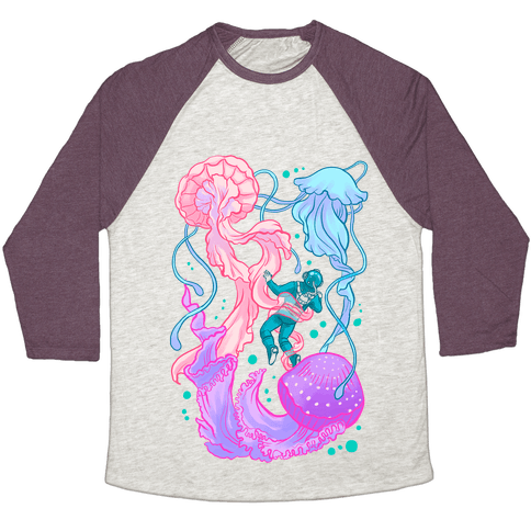 Deep Sea Diver & Jellyfish Baseball Tee
