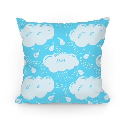 Cutie Rain Clouds (blue) Pillow