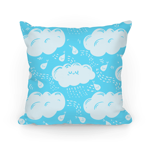 Cutie Rain Clouds (blue) Pillow