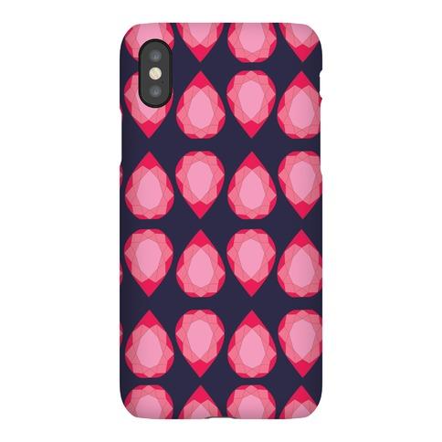 Pink Teardrop Gem Pattern Phone Case