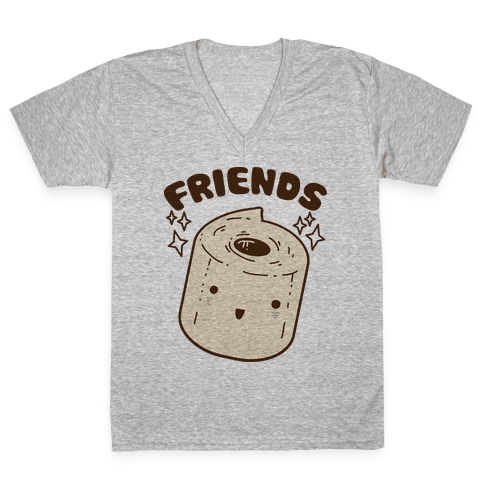 Best Friends TP & Poo (Toilet Paper Half) V-Neck Tee Shirt