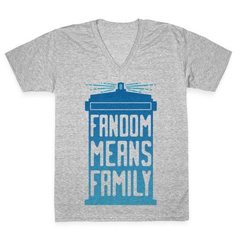 Fandom Means Family (Doctor Who) V-Neck Tee Shirt