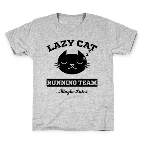 Lazy Cat Running Team Kids T-Shirt