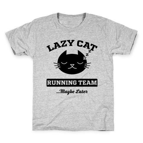 Lazy Cat Running Team Kids T-Shirt
