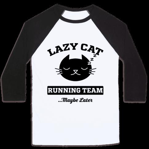 Lazy Cat Running Team Baseball Tee