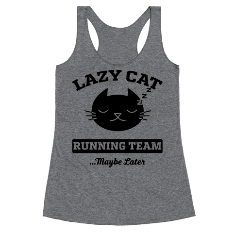 Lazy Cat Running Team Racerback Tank Top