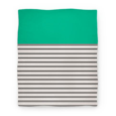 Green Color Block Stripe Blanket