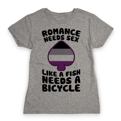 Romance Needs Sex Like A Fish Needs A Bicycle Womens T-Shirt