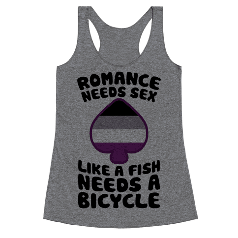 Romance Needs Sex Like A Fish Needs A Bicycle Racerback Tank Top