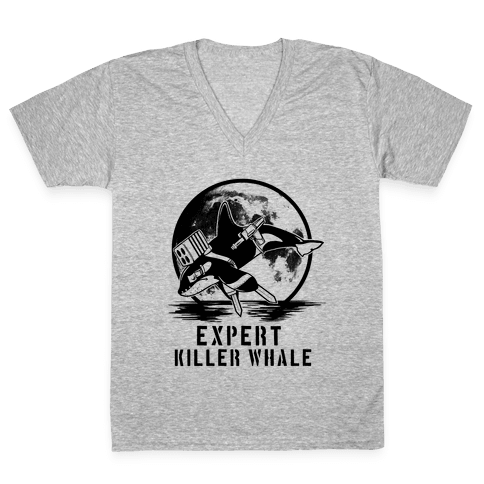 Expert Killer Whale V-Neck Tee Shirt