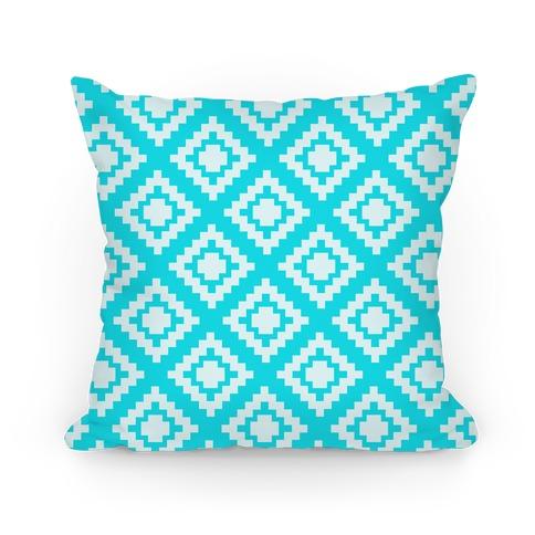 Blue Tribal Diamond Pattern Pillow