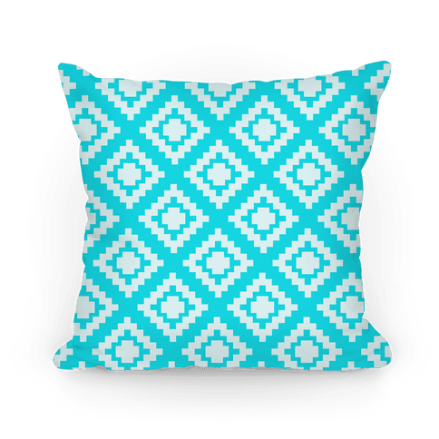 Blue Tribal Diamond Pattern Pillow
