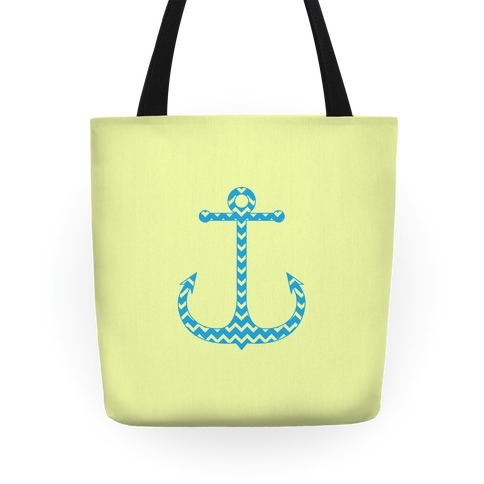 Chevron Anchor Tote (Blue and Yellow) Tote