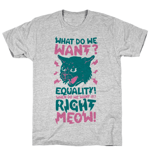 What Do We Want? Equality! When Do We Want it? Right Meow! Mens T-Shirt