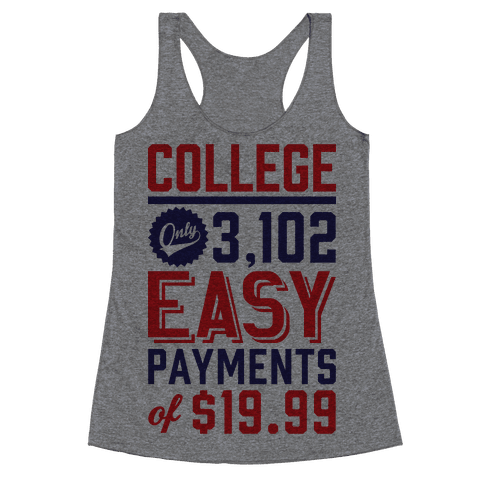 College Only 3,102 East Payments Of $19.99 Racerback Tank Top
