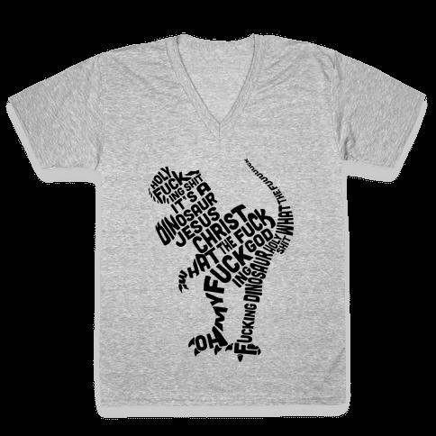 Holy F***ing Shit It's a Dinosaur V-Neck Tee Shirt