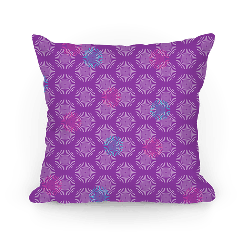 Purple Radial Mandalas Pattern Pillow