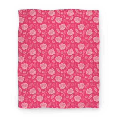 Floral and Leaves Pattern (Pink) Blanket