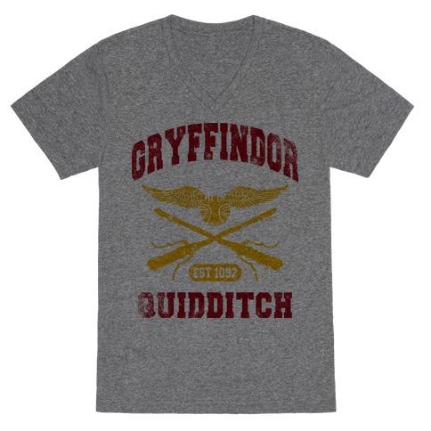 Gryffindor Quidditch (Vintage Tank) V-Neck Tee Shirt