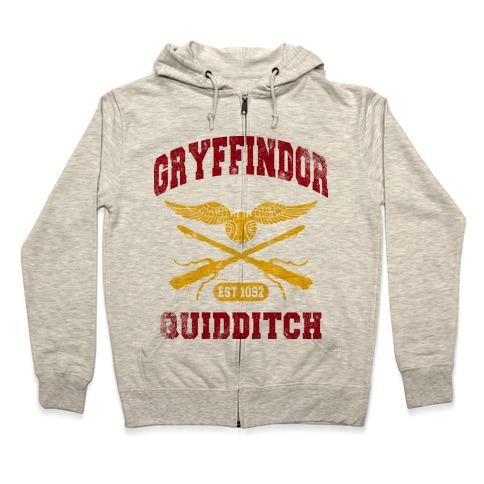 Gryffindor Quidditch (Vintage Tank) Zip Hoodie