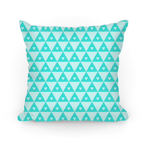 Teal Triangles Pattern Pillow