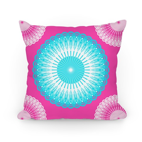 Sky Blue and Pink Flower Mandala Pillow