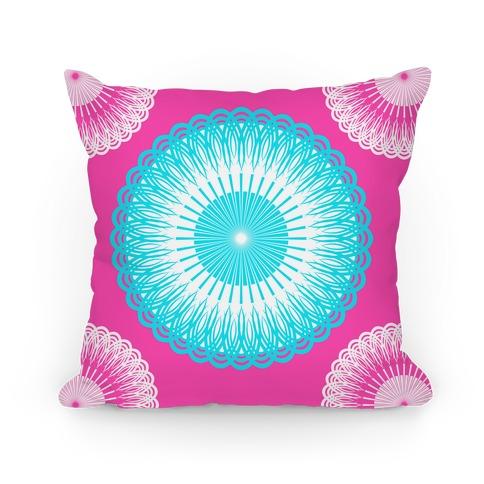Sky Blue and Pink Flower Mandala Pillow