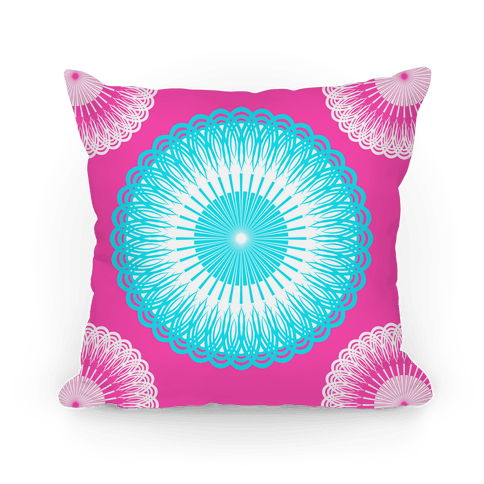 Sky Blue and Pink Flower Mandala