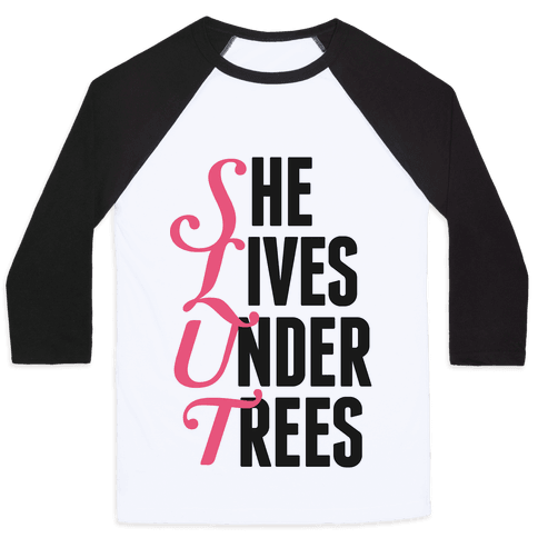 She Lives Under Trees Baseball Tee