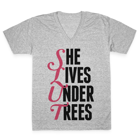 She Lives Under Trees V-Neck Tee Shirt