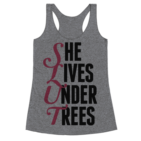 She Lives Under Trees Racerback Tank Top