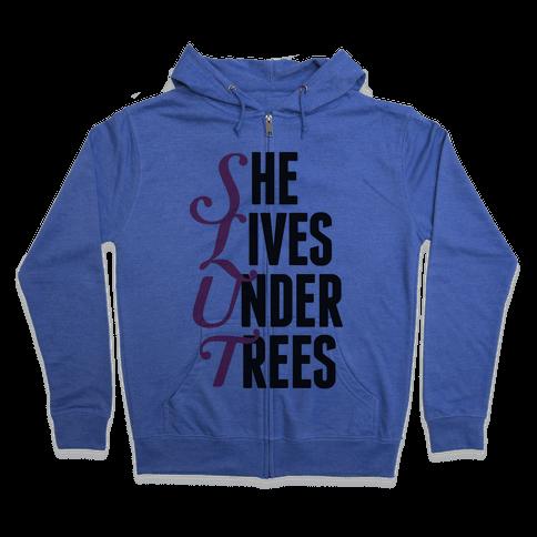 She Lives Under Trees Zip Hoodie