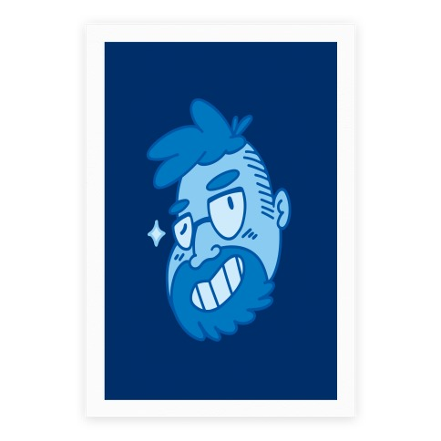 Cute Scruffy Dude (Blue) Poster