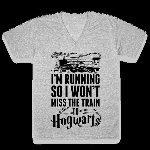 I'm Running So I Won't Miss The Train To Hogwarts V-Neck Tee Shirt