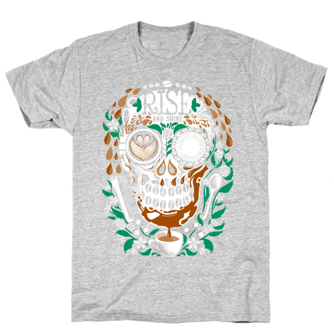 Rise and Shine Coffee Skull Mens T-Shirt