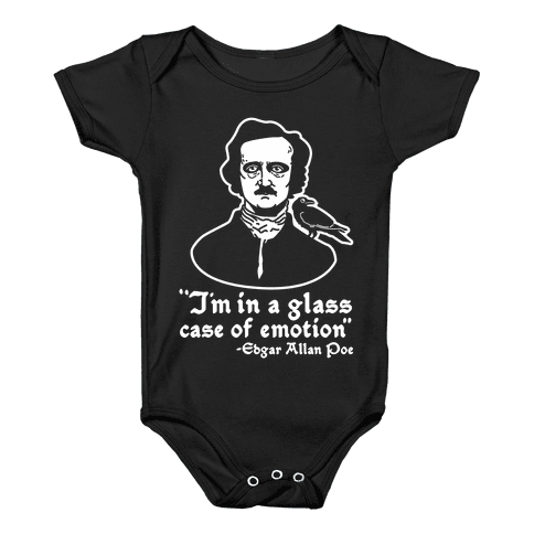 Poe in a Glass Case of Emotion Baby Onesy